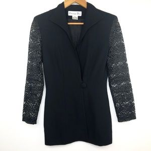 VTG Christian Dior Black One Button Lace Blazer